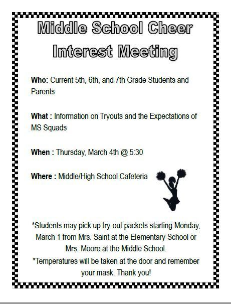 Middle School Cheer Interest Meeting