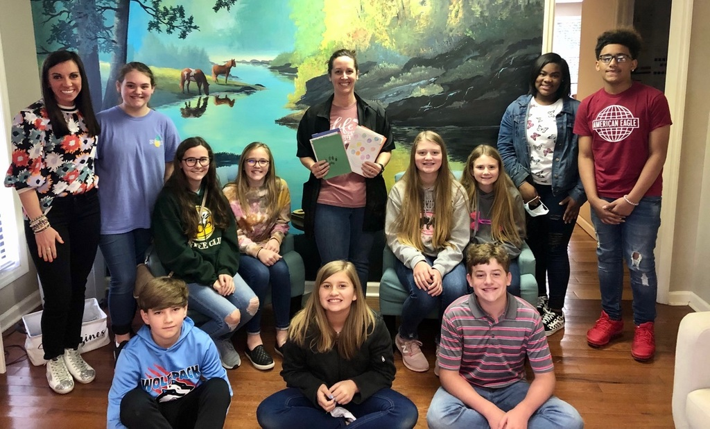 Mrs. Morrow recognized by middle school students.