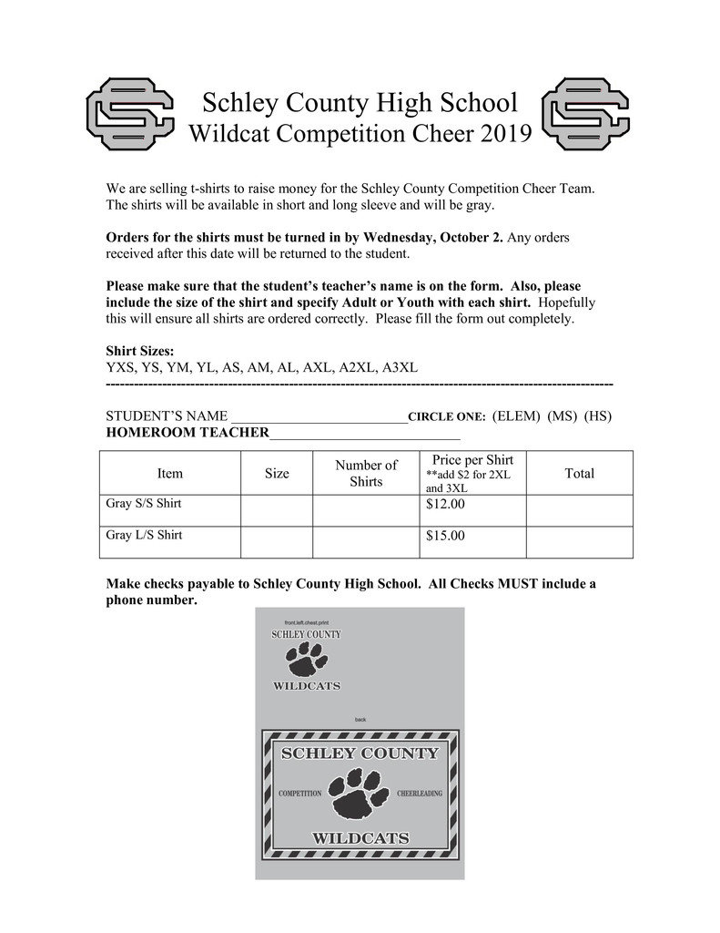cheer shirt form