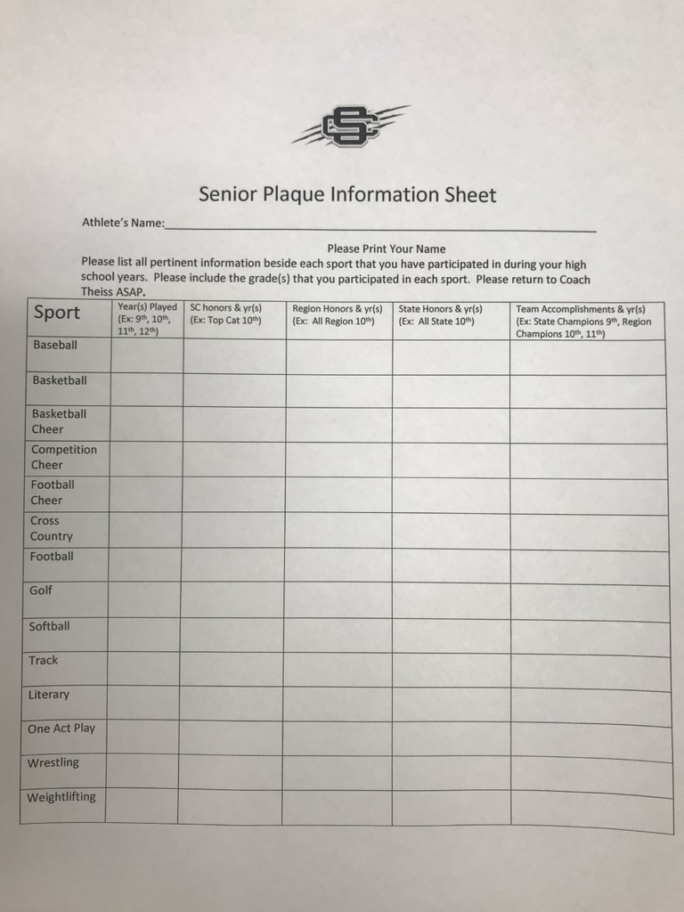 Sr. Plaque Information Sheet